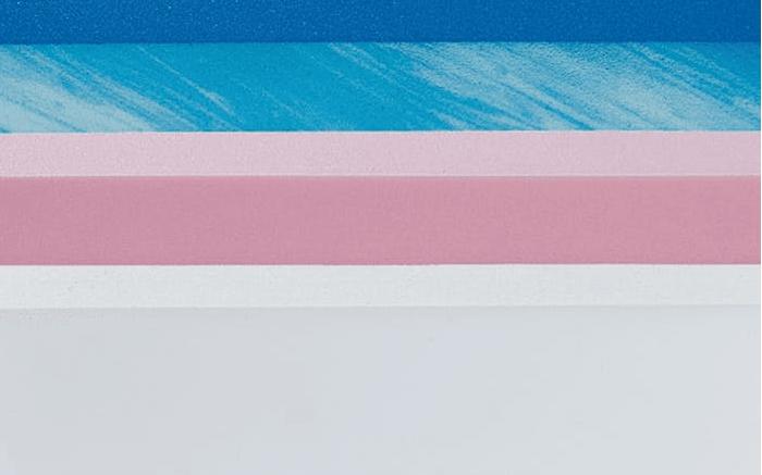 Blue, pink and white mattress foam.