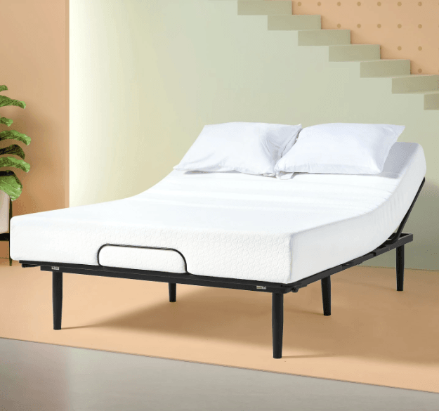 Zinus adjustable bed set in room with neutral tones.