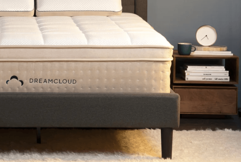 The corner of a DreamCloud mattress.