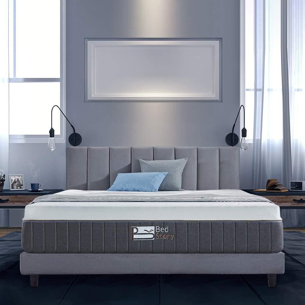 BedStory 12 Inch Gel Memory Foam Mattress Queen, Bamboo Charcoal Infused Breathable Bed Mattress CertiPUR-US Certified Foam, 10-Year Warranty