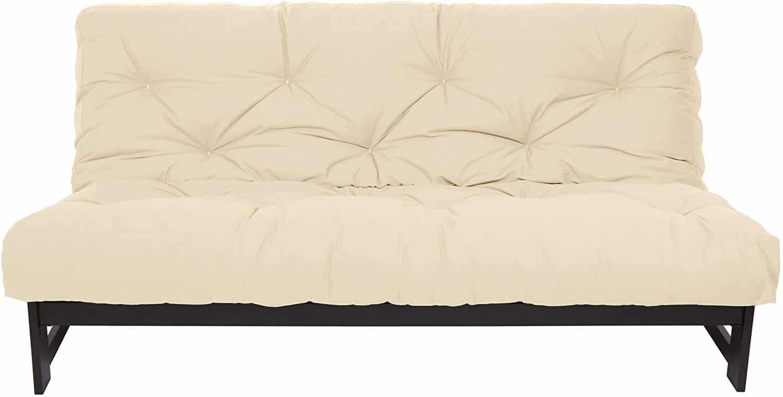Mozaic Full Size 8-Inch Cotton Twill Gel Dual Memory Foam Futon Mattress, Ivory