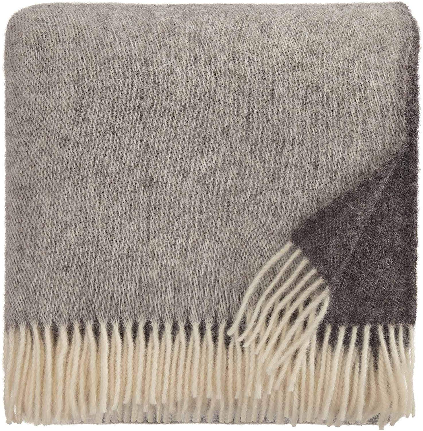 URBANARA 100% Pure Scandinavian Wool Throw Salakas 55x87 Brown-Grey/Cream with Fringe — Virgin Wool Blanket with Two Main Colors — Perfect for Couch, Sofa, Bedroom, King or Queen Size Bed