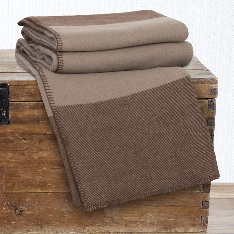 Lavish Home 100% Australian Wool Blanket, King, Brown