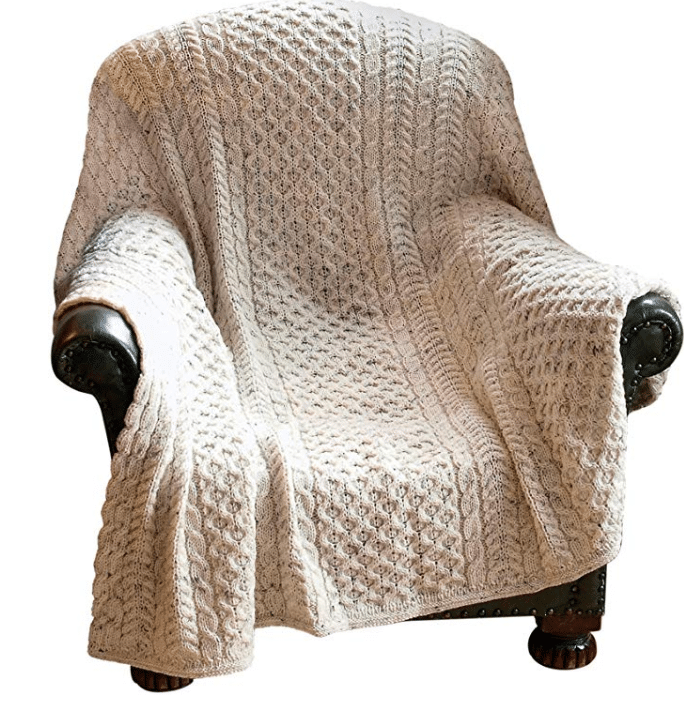 """100% Irish Pure Wool Honeycomb Couch Throw Blanket 60"""" x 50"""" (127cm X 153cm) by West End"""