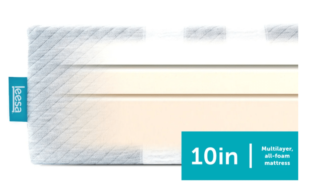 A tri-layer foam mattress with a gray and white striped outer cover and a turquoise tag.