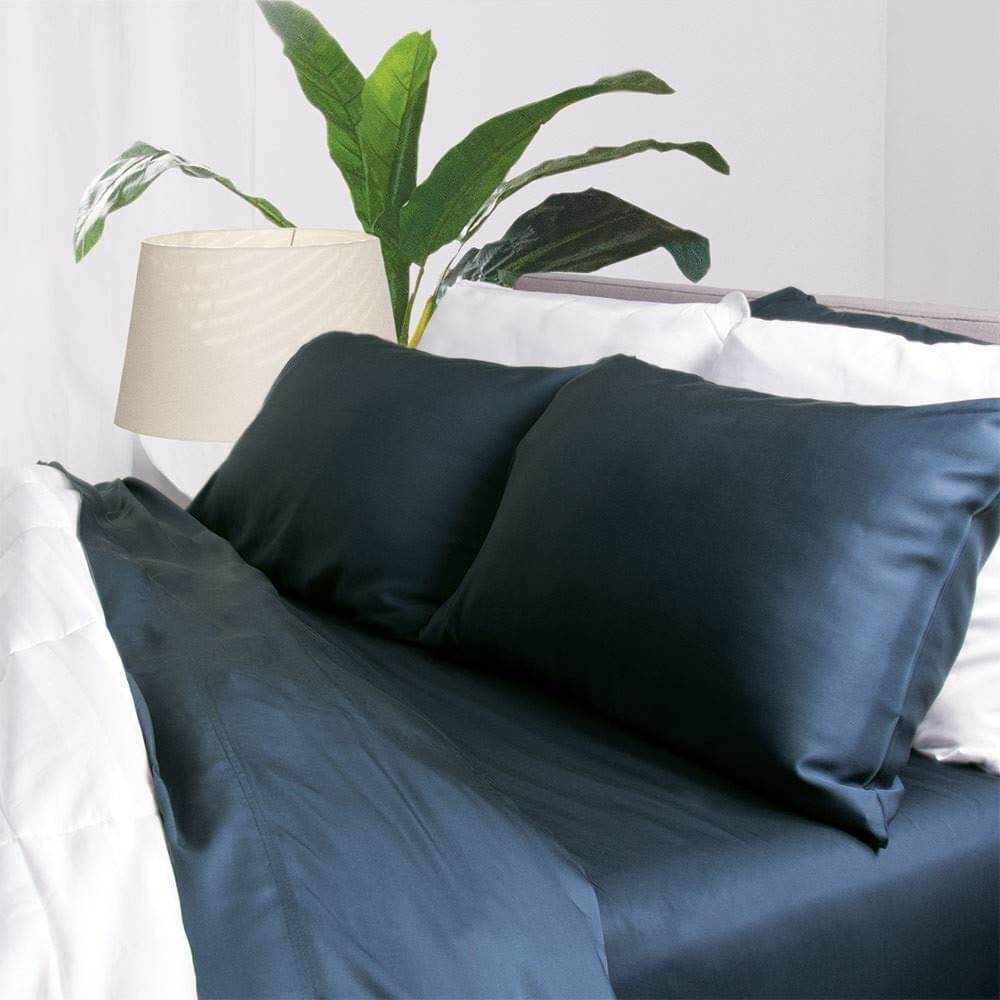Bamboo Sheets by Aloha Soft - 4 Piece Bed Sheet Set - Includes Bed Sheets and Pillowcases - Lifetime Quality Guarantee (Queen, Marine Blue)