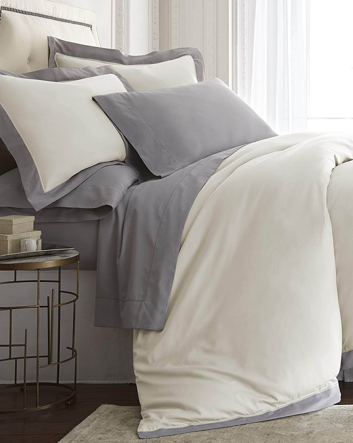 Cozy Beddings Barolo 4pcs Sheet Set Applique/Hemstitch Eucalyptus Tencel Lyocell Cotton Grey Color | King Size Bed