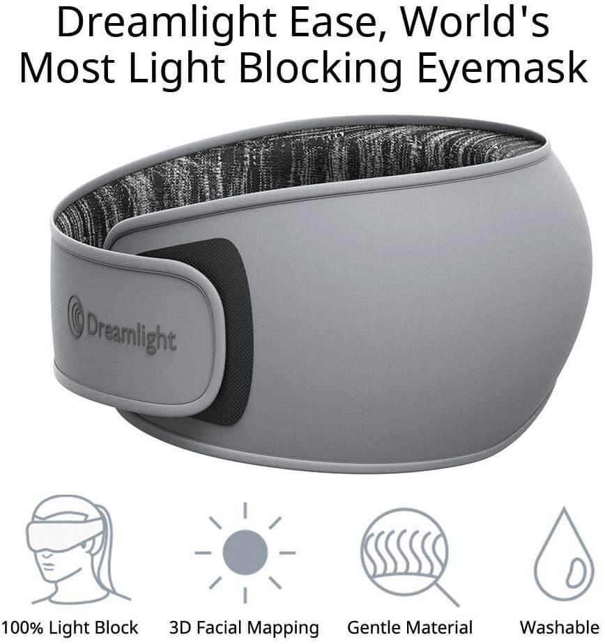DREAMLIGHT Ease Sleep Mask for Women Men, 3D Contoured Sleep Eye Mask, Lightweight Comfortable Sleeping Mask with Soft Natural Silk,100% Light Blocking Eye Blinder for Travel/Naps/Shift Work/Yoga