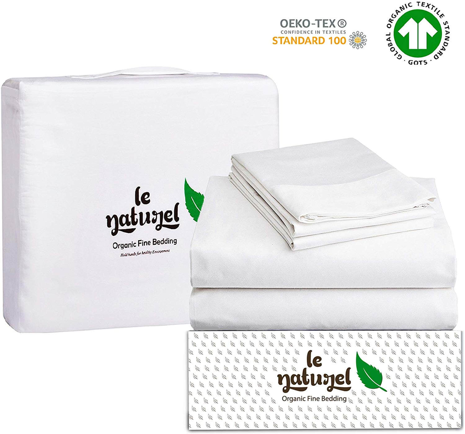 """Le Naturel 300 Thread Count 100% GOTS Certified Organic Cotton Sheet Set Full Size (White) 4 Piece Bedding Sheets for Bed,Soft Sateen Weave bedsheets Set,Fits Upto 16"""" Deep Pocket Mattress"""