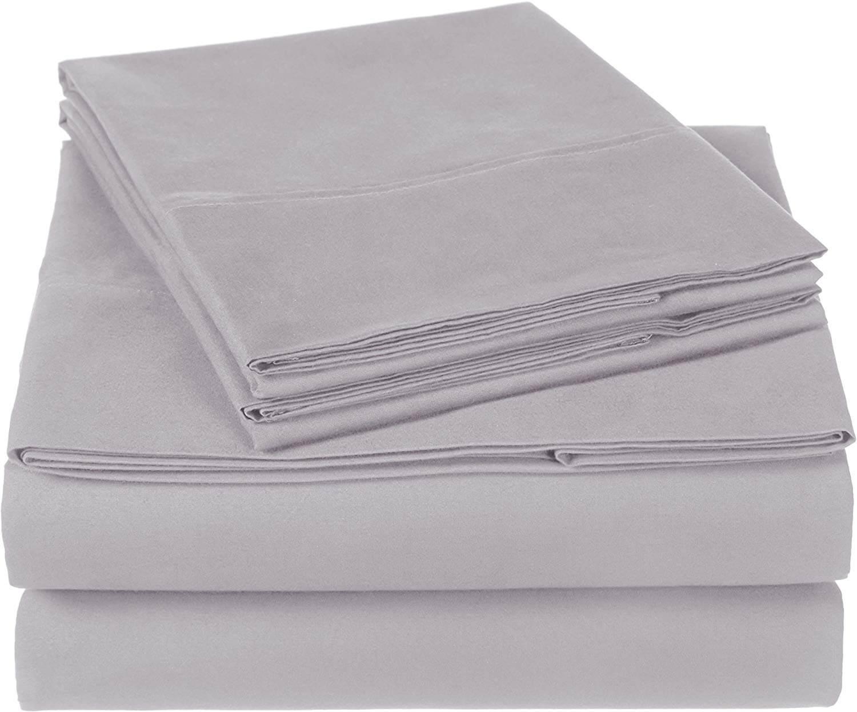 Pinzon 300 Thread Count Organic Cotton Bed Sheet Set - Full, Dove Grey