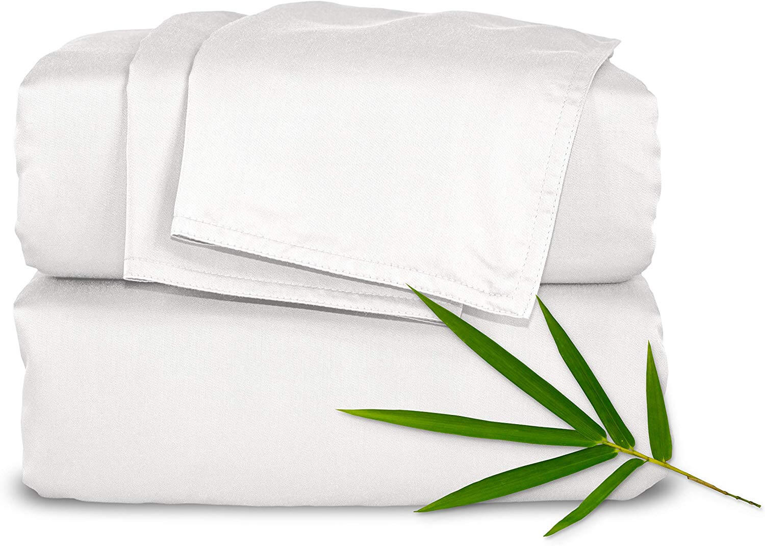 """Pure Bamboo Sheets - Short Queen Size Bed Sheets 4-pc Set for RV or Camper (60""""x75"""") - 100% Organic Bamboo - Incredibly Soft - 1 Fitted Sheet, 1 Flat Sheet, 2 Pillowcases (Short Queen, White)"""