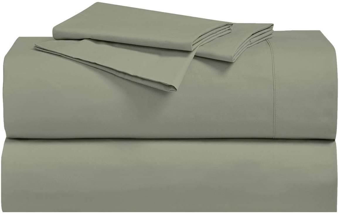 Royal Tradition Solid 300-Thread-Count, 100-Percent Cotton Percale Twin Extra Long XL Bed Sheets Set, Sage