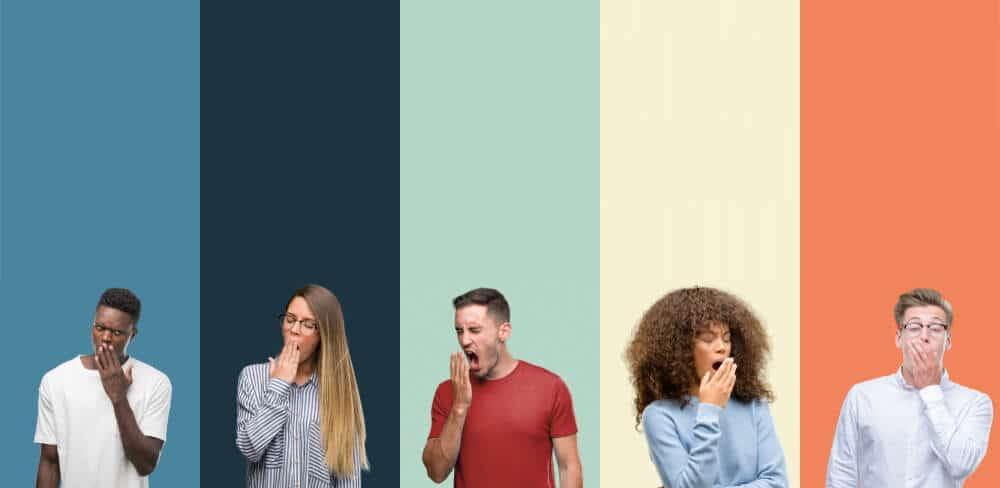Group of people over vintage colors background bored yawning tired covering mouth with hand. Restless and sleepiness. Sleep deprivation statistics concept.
