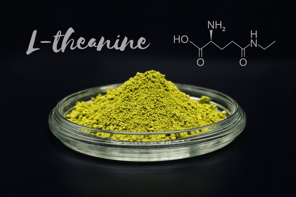 L-theanine, amino acid found in green tea. Picture is with matcha tea, that contains up to five times as much L-theanine as regular green tea, therefore it is one of the best sources of theanine.