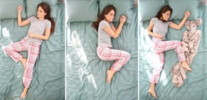Beautiful woman sleeping in different positions on bed, top view .