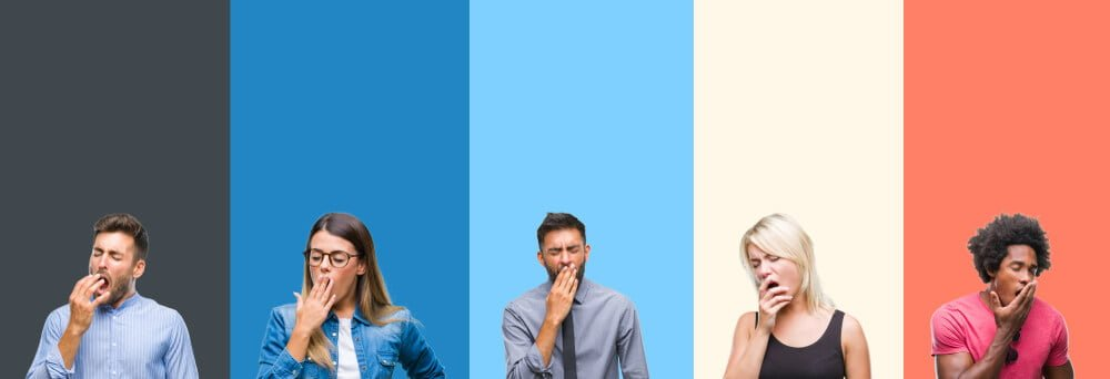 Collage of group of young people over colorful vintage isolated background bored yawning tired covering mouth with hand. Restless and sleepiness.