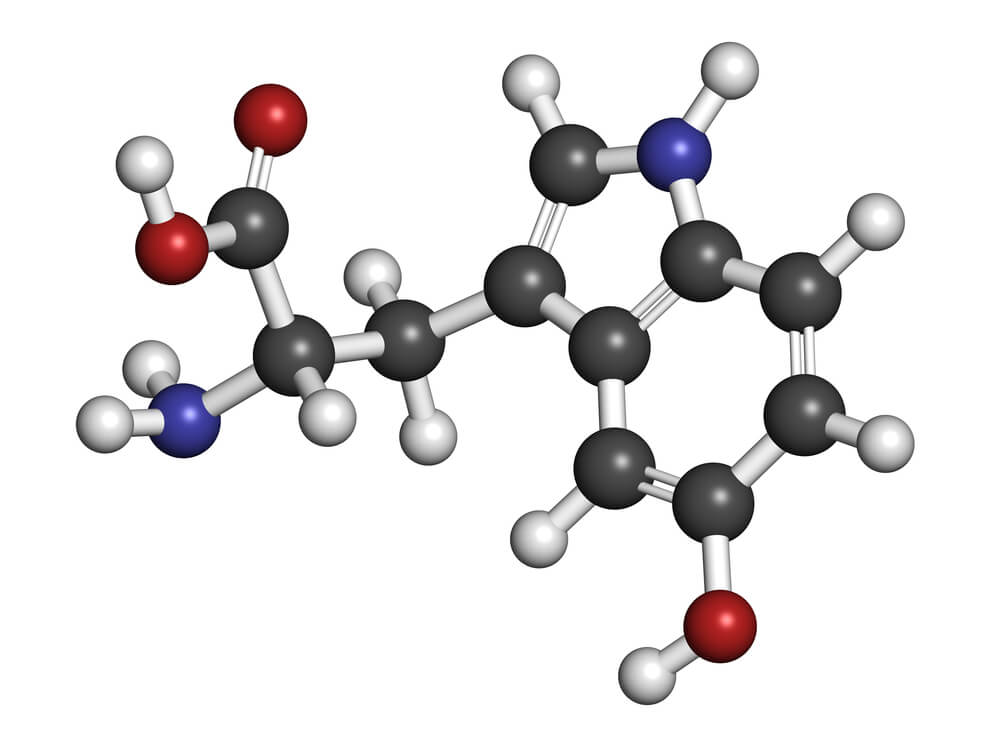 5-hydroxytryptophan (5-HTP, oxitriptan) antidepressant, molecular model. 5-HTP is used as an antidepressant, sleep aid and appetite suppressant. Atoms are represented as spheres.