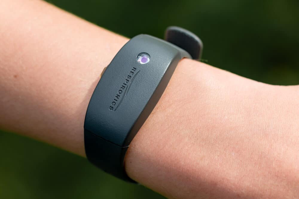 An arm wearing a Philips Respironics Actiwatch, a clinical research-grade tracker watch for insomnia, sleep studies and activity monitoring