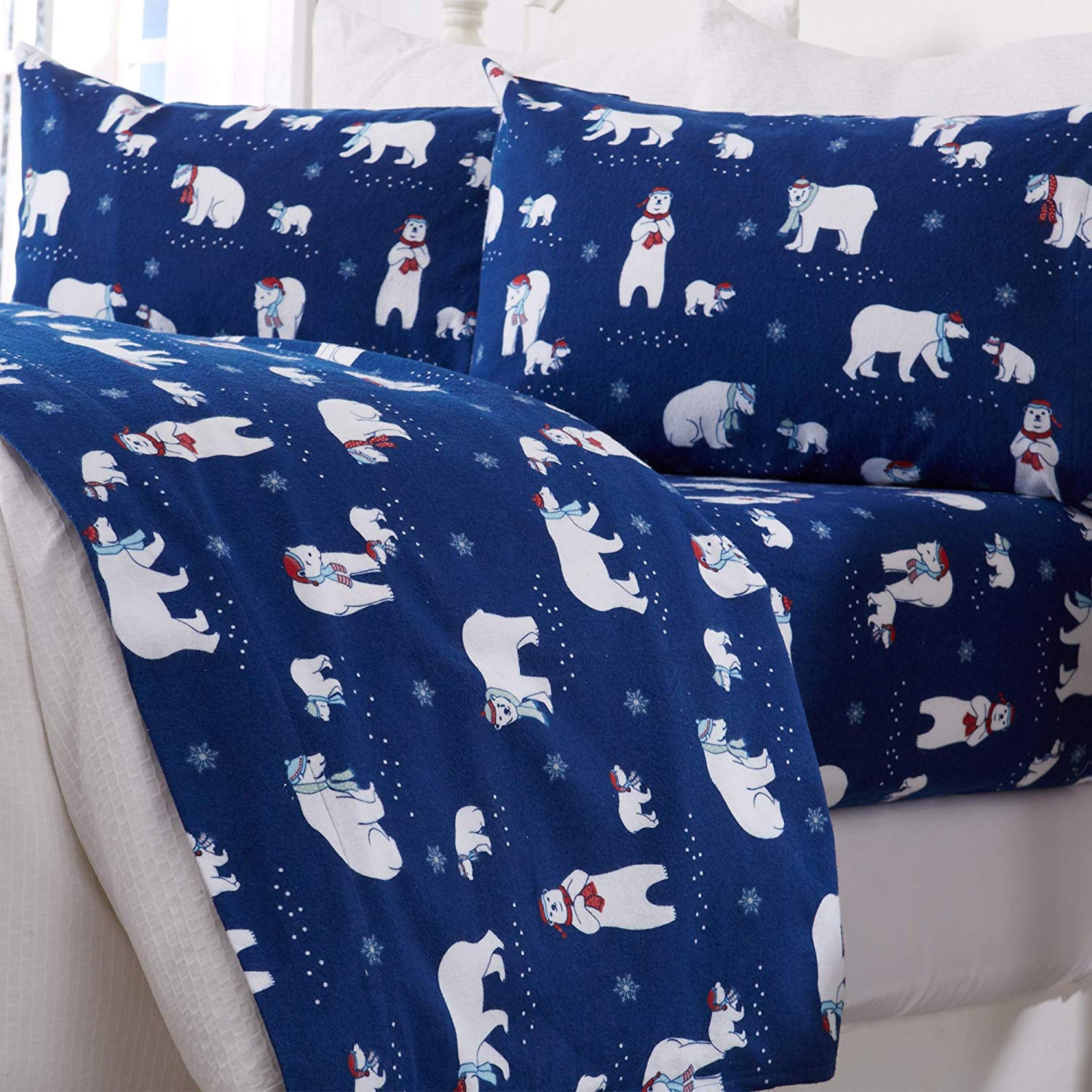 Great Bay Home Extra Soft Printed 100% Turkish Cotton Flannel Sheet Set. Warm, Cozy, Luxury Winter Bed Sheets. Belle Collection (Full, Navy Polar Bears)