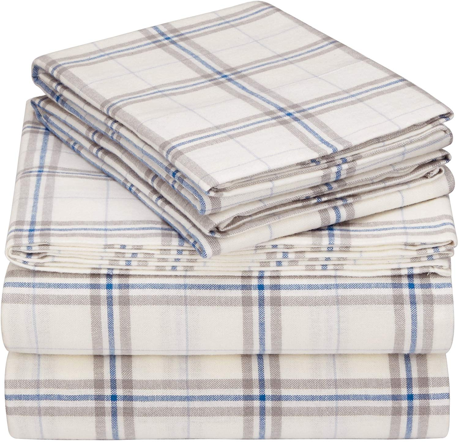 Pinzon 160 Gram Plaid Flannel Cotton Bed Sheet Set, King, Cream / Blue Stripe Plaid