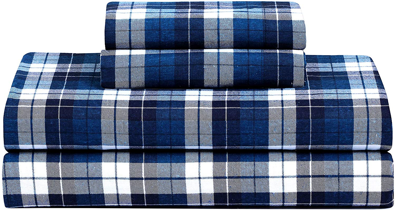FEATHER & STITCH NEW YORK Luxury Cotton Flannel Sheets with Deep Pocket, Warm for Winter, Cozy, Lightweight, Winter Sheet Sets (Full, Navy Blue Plaid)