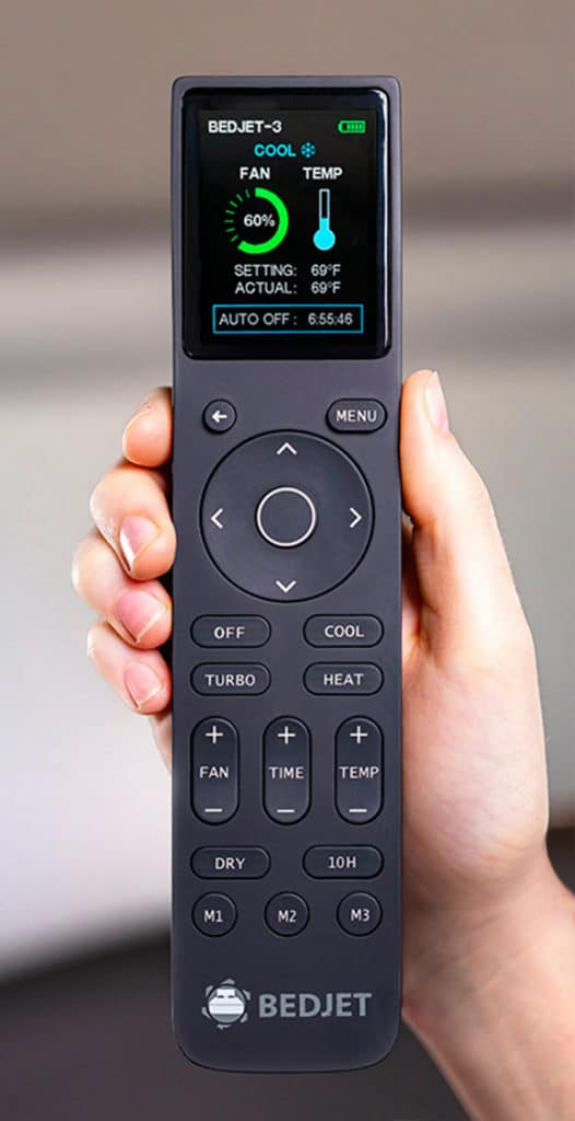 A black BedJet 3 remote with a digital screen.