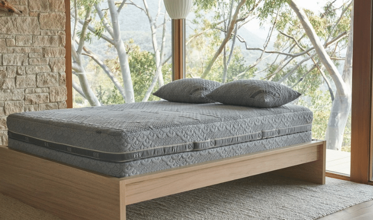 A double-sided vegan hybrid Brentwood Home Crystal Cove mattress.