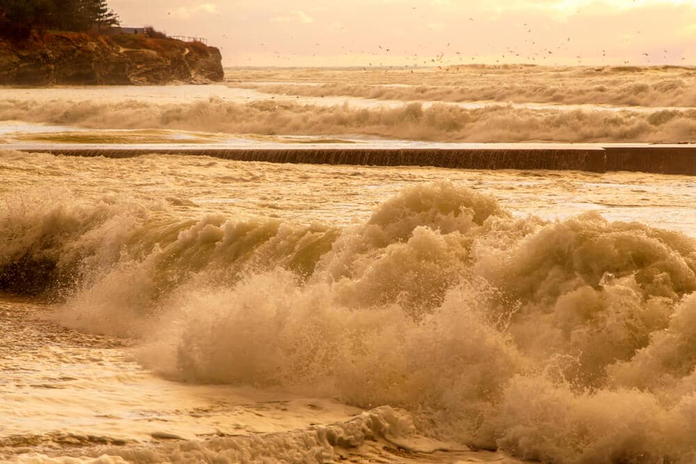 Brown sea wave in a storm at sunset