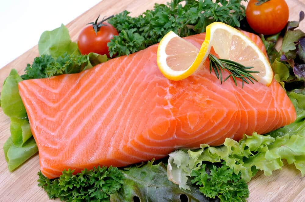 Fresh salmon with vegetables,