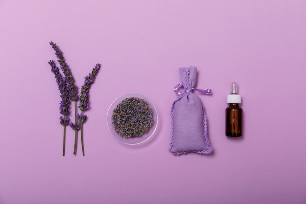 Essential lavender oil and flower with small bag on purpule background. Wellness with lavender, minimal concept. Beauty treatment top view.