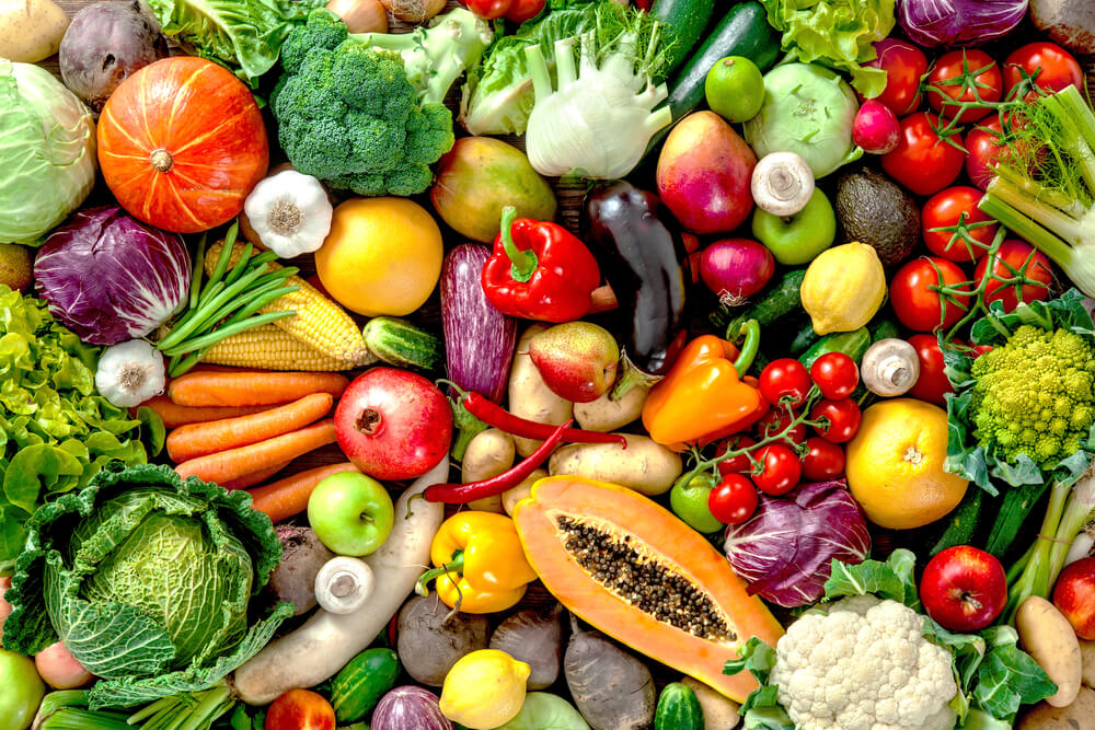 Assortment of fresh fruits and vegetables A