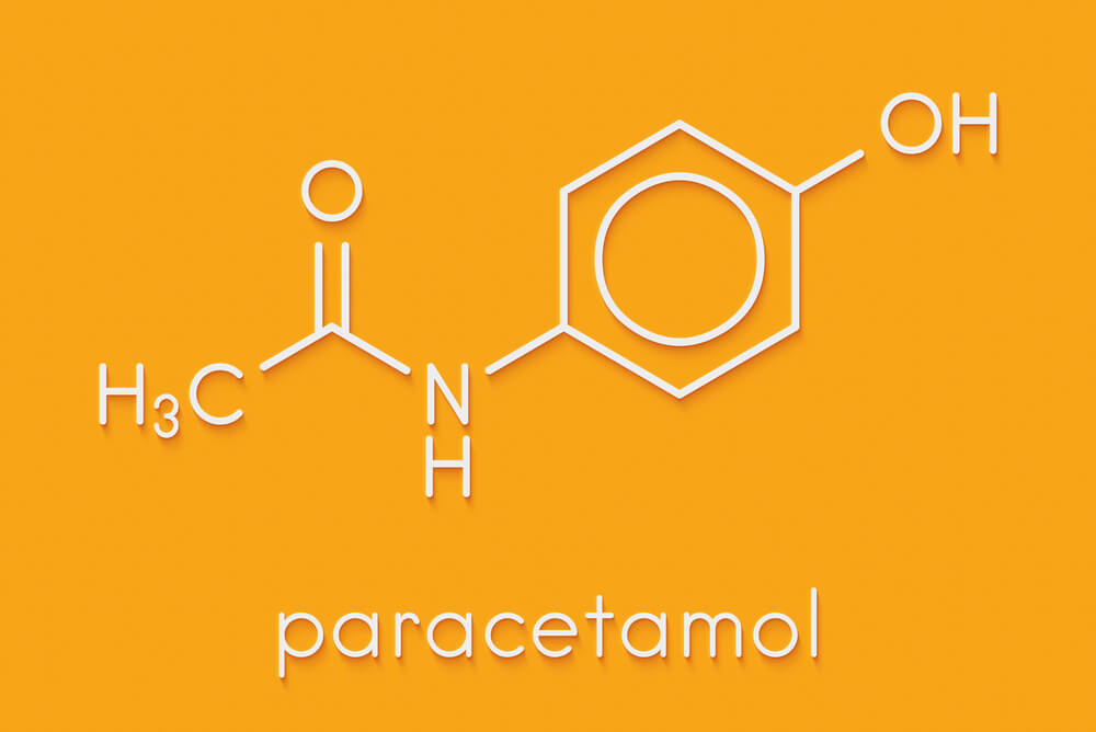 Paracetamol (acetaminophen) analgesic drug molecule. Used to reduce fever and relieve pain. Skeletal formula. Found in Nyquil.