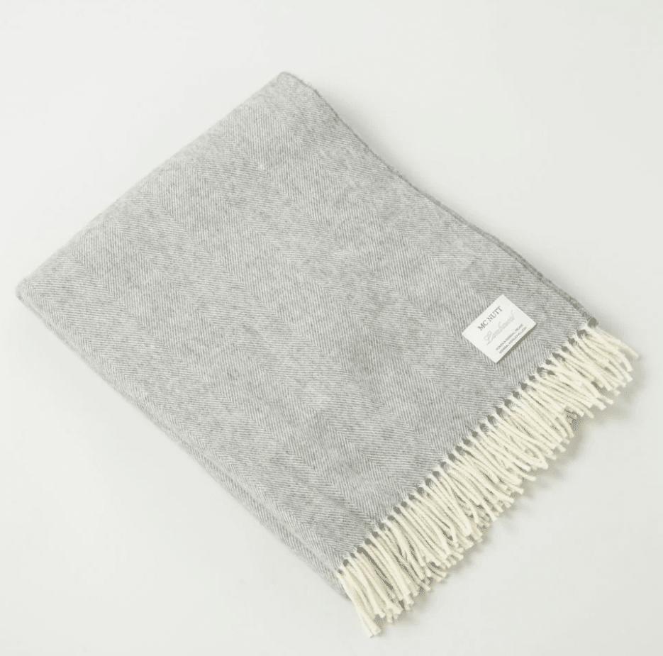 McNutts Gray Lambswool Irish Blanket