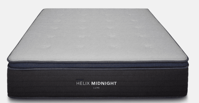 A close-up shot of a hybrid Helix Midnight Luxe mattress, isolated against white.
