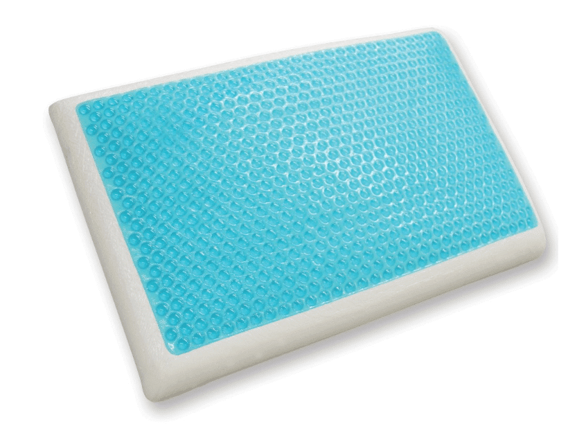 A white cooling memory foam pillow with a blue gel layer.
