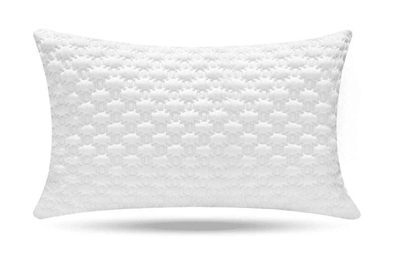 A white memory foam pillow with a textured cover.