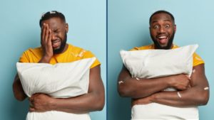 A before and after of a man with the best pillow for headaches relief.
