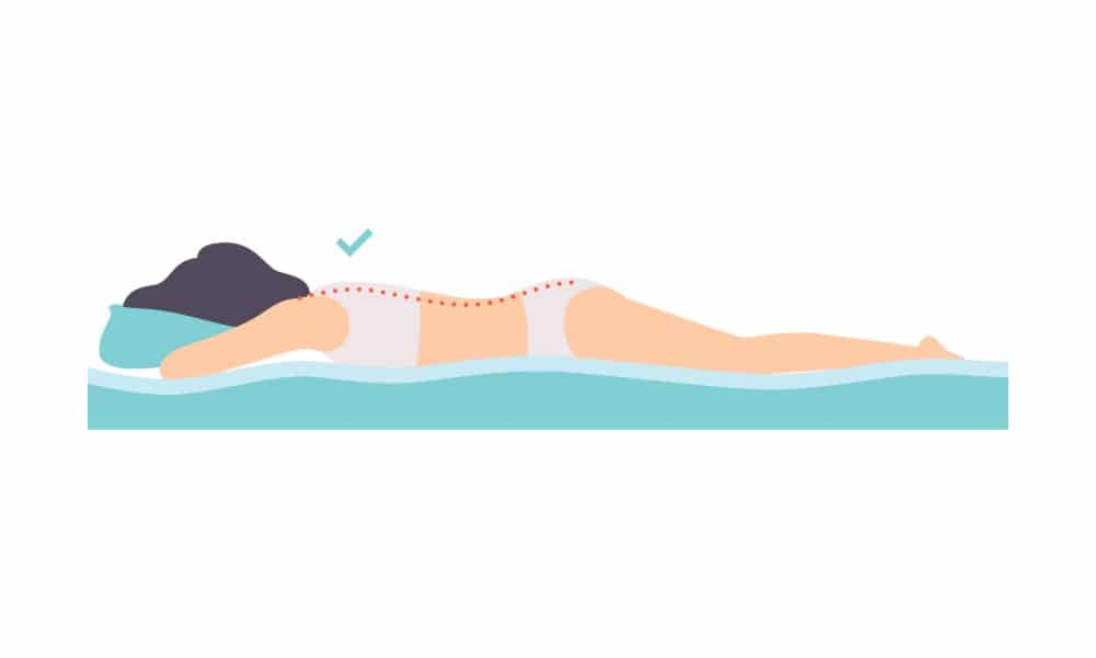 Woman lying on her stomach, correct sleeping posture for neck and spine, healthy sleeping position, orthopedic mattress and pillow vector Illustration