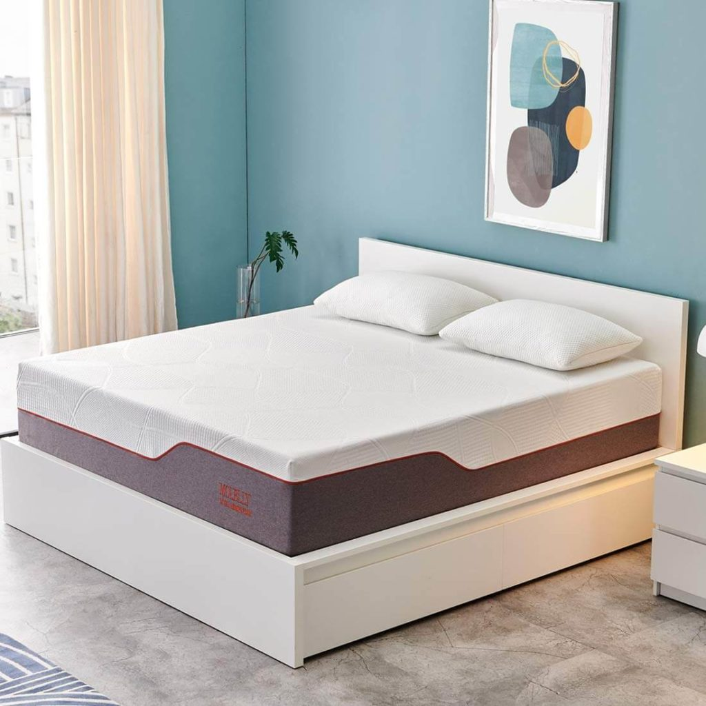 Queen Mattress, Molblly 14 inch Ventilated Gel Memory Foam Mattress Bed Mattress in a Box - CertiPUR-US Certified Foam