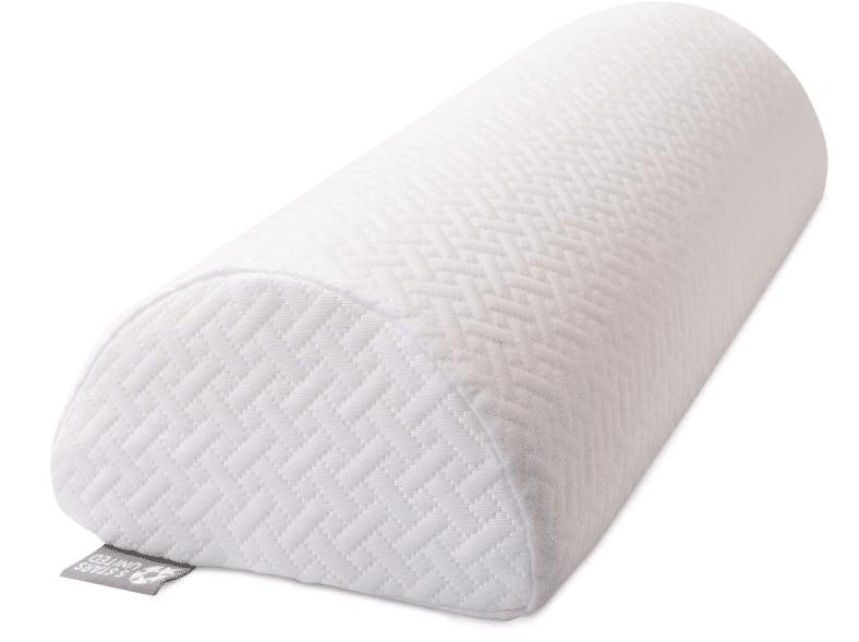 A white half moon memory foam pillow