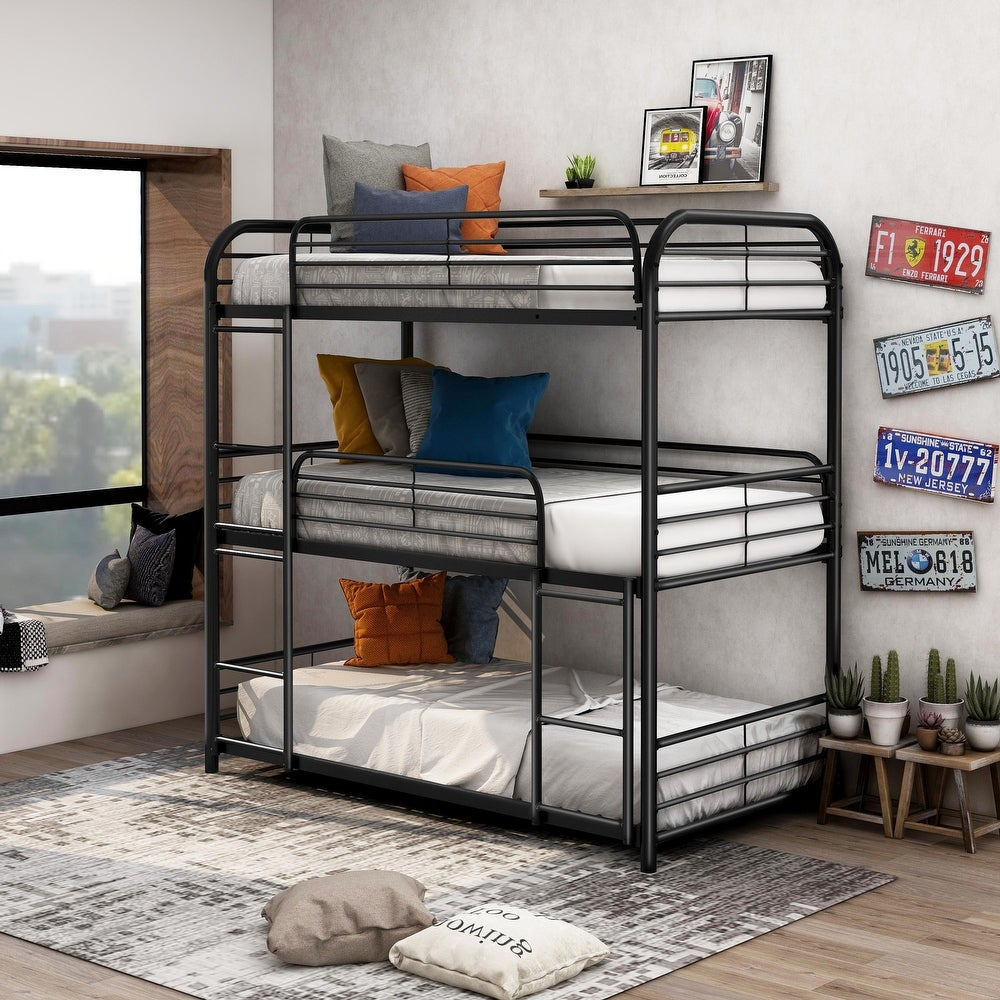 Furniture of America Zord Transitional Twin Metal Triple Bunk Bed