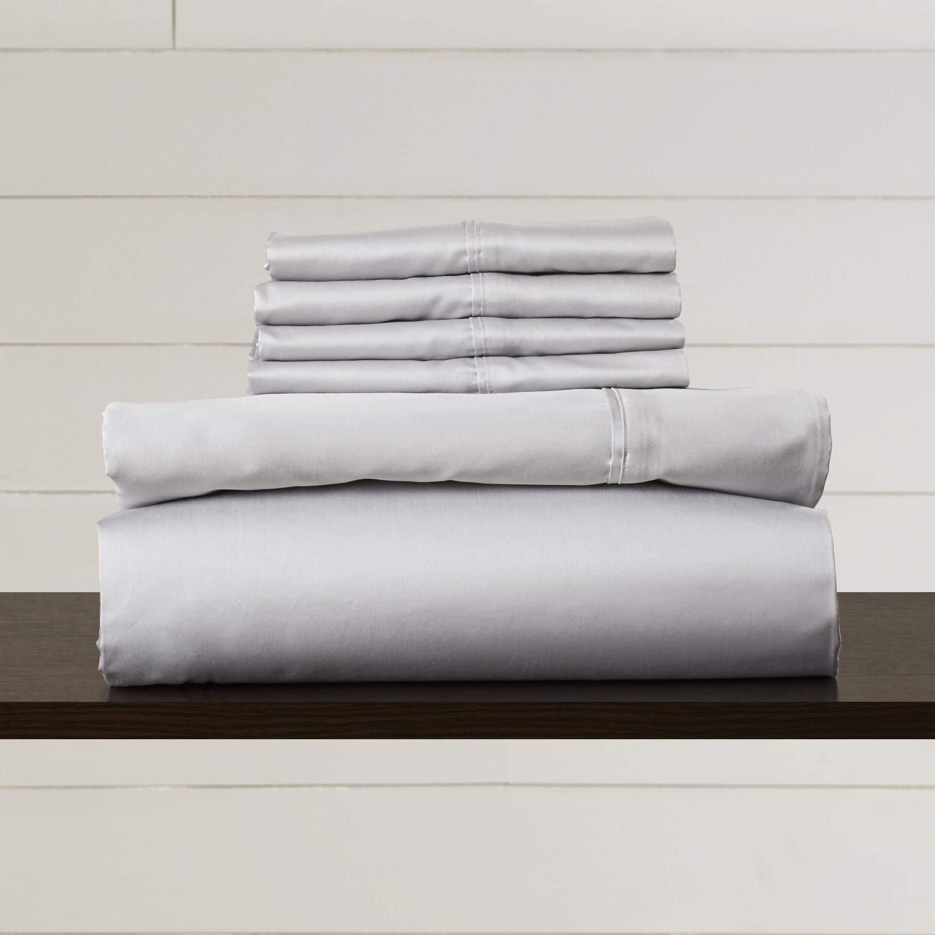 nicoli 600 thread count 6 piece egyptian quality cotton sateen deep pocket sheet set