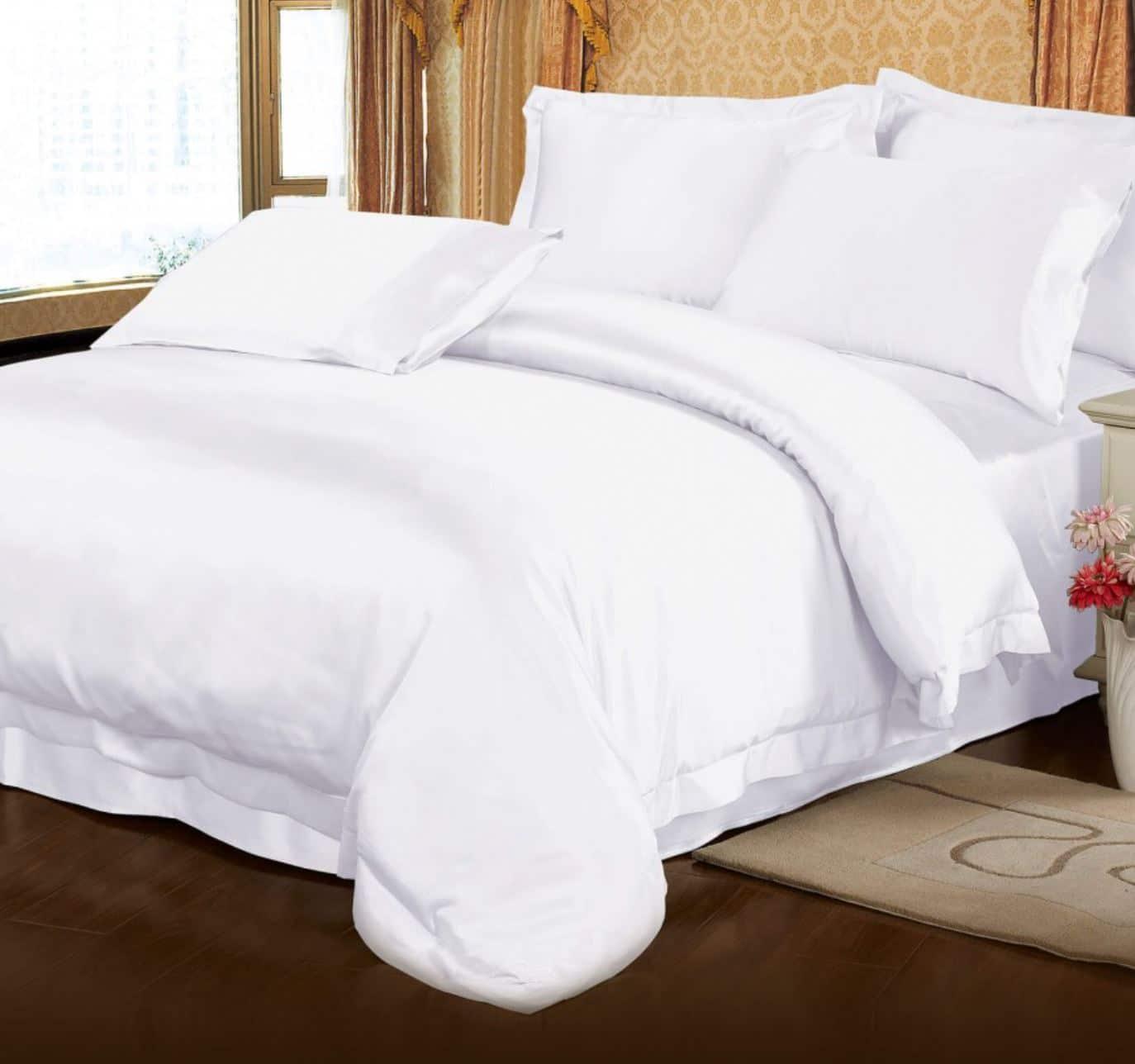 white silk sheets