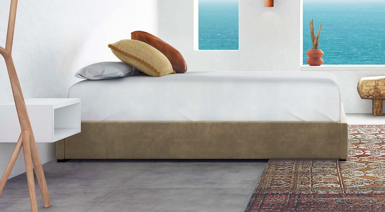 d Amalfi Platform Bed VelvetTaupe