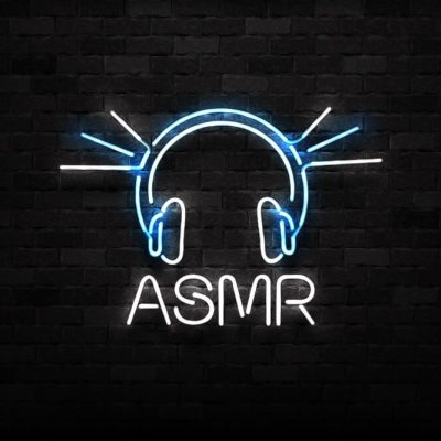 Isolated neon sign of ASMR logo for decoration and covering on the wall background. ASMR sleep concept.