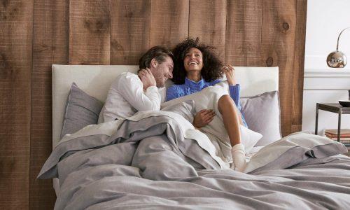 brooklinen couple on bed